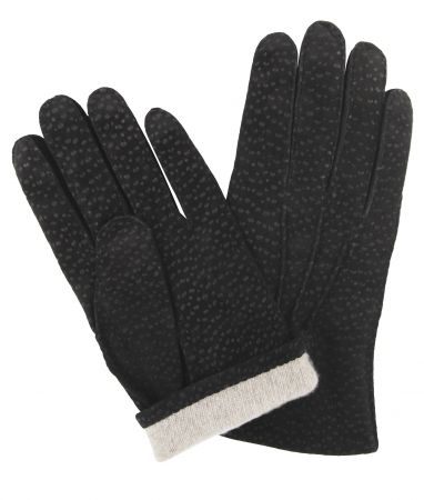 Black Buffed Hogskin/ Cashmere Lined Gloves