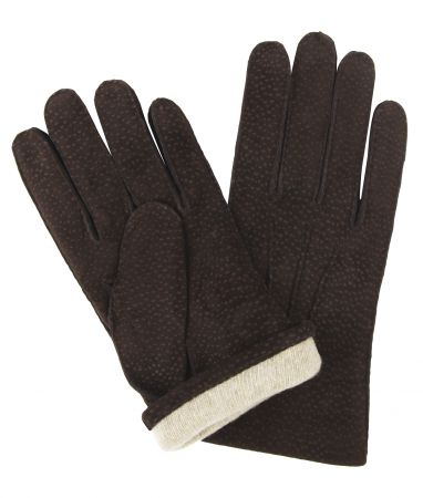 Dark Brown Buffed Hogskin/ Cashmere Lined Gloves