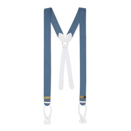 Plain Boxcloth Braces in Saxe Blue