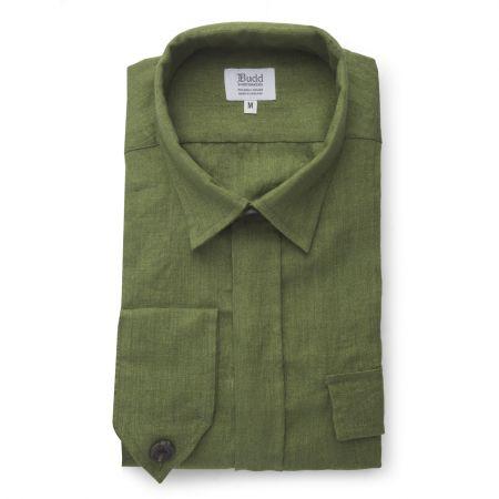 Plain Linen Button Cuff Safari Shirt in Khaki