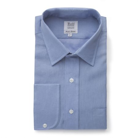 Classic Fit Plain Linen Button Cuff Shirt in Frejus