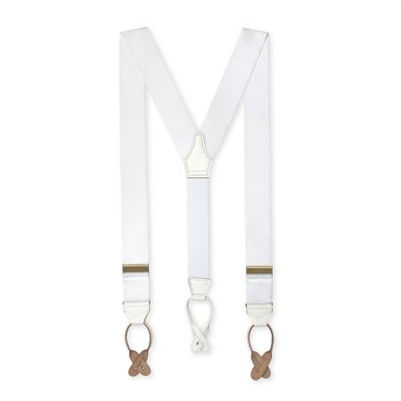 Barathea Braces with Button in White