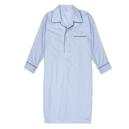 Exclusive Budd Stripe Cotton Nightshirt in Sky Blue