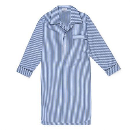 Exclusive Budd Stripe Cotton Nightshirt in Edwardian Blue