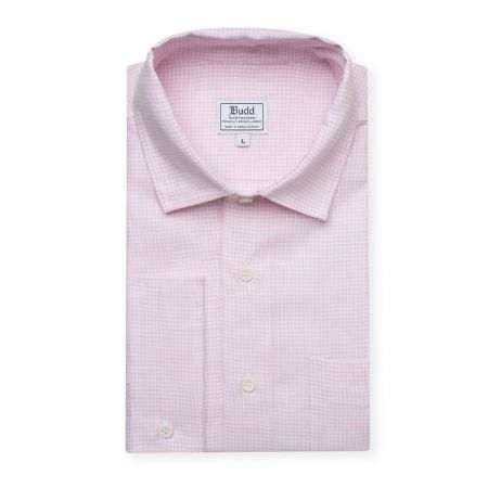 Casual Fit Small Gingham Check Linen Button Cuff Shirt in Pink