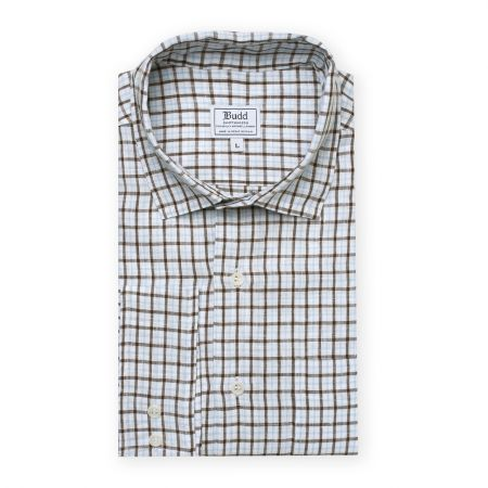Casual Fit Bold Check Linen Button Cuff Shirt in Brown