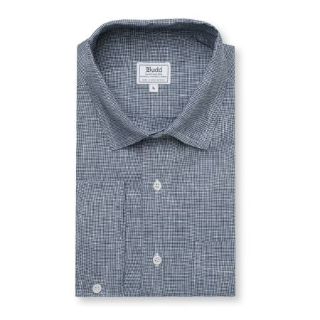 Casual Fit Puppytooth Check Linen Button Cuff Shirt in Navy