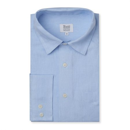 Casual Fit Exclusive Plain Linen Button Cuff Shirt in Iris