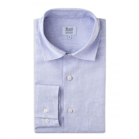 Casual Linen Shirt with Slubs in Lilac