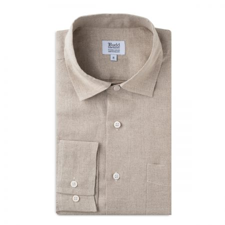 Casual Fit Plain Linen Button Cuff Shirt in Natural