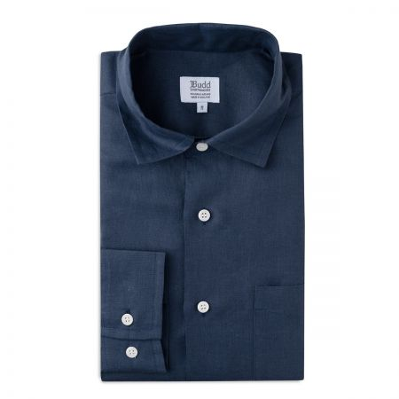 Casual Linen Shirt in Navy