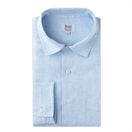 Casual Linen Shirt with Slubs in Sky Blue