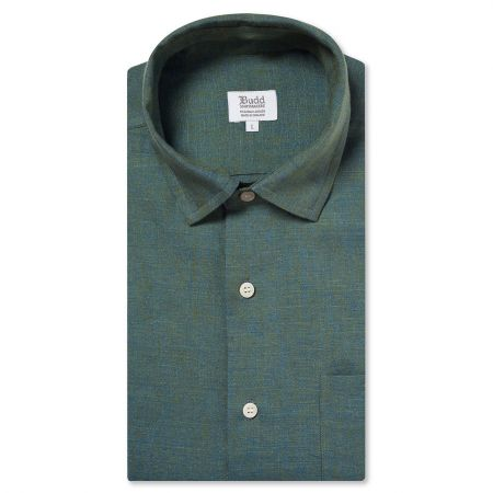 Casual Linen Shirt in Forest Green