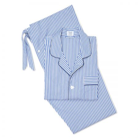Exclusive Budd Stripe Pyjamas in Edwardian Blue