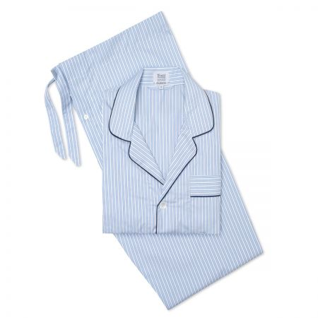 Exclusive Budd Stripe Pyjamas in Sky Blue
