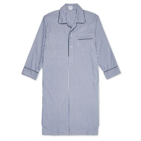 Exclusive Budd Stripe Cotton Nightshirt in Navy