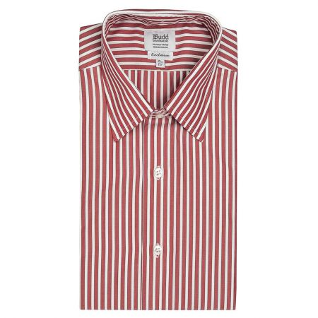 Exclusive Budd Stripe Shirt in Red Collar