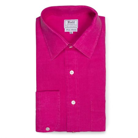 Classic Fit Plain Linen Button Cuff Shirt in Bright Pink