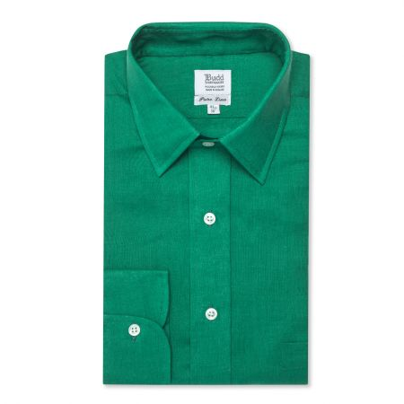 Classic Fit Plain Linen Button Cuff Shirt in Emerald
