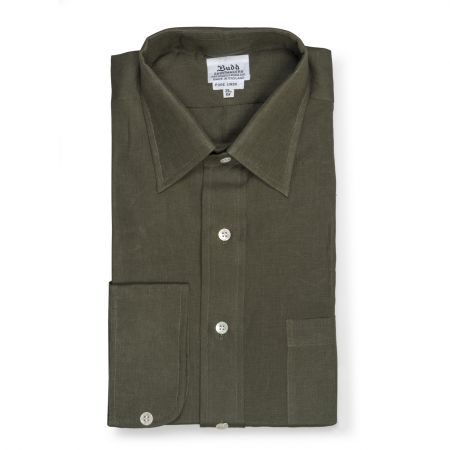 Classic Fit Plain Linen Button Cuff Shirt in Khaki Green