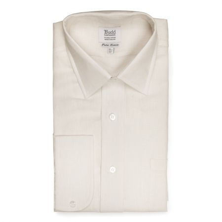 Classic Fit Plain Linen Button Cuff Shirt in Milk