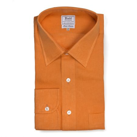 Classic Fit Plain Linen Button Cuff Shirt in Orange