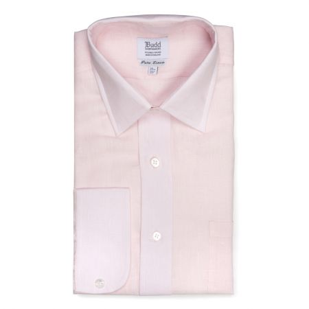Classic Fit Plain Linen Button Cuff Shirt in Soft Pink
