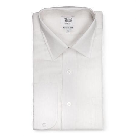 Classic Fit Plain Linen Button Cuff Shirt in White