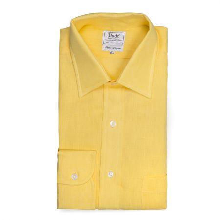 Classic Fit Plain Linen Button Cuff Shirt in Yellow