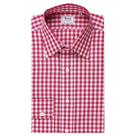 Classic Fit Medium Gingham Check Zephyr Button Cuff Shirt in Pink