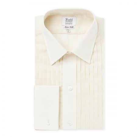 Hand Pleated Cream Silk Dress Shirt