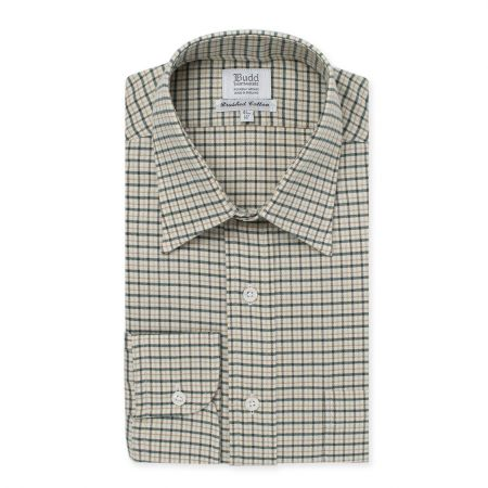 Fife Check Brushed Cotton Shirt in Green