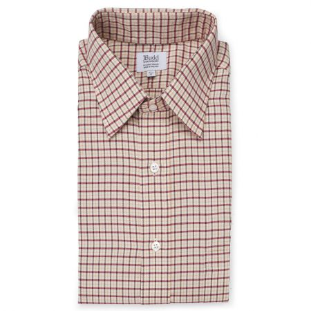 Fife Check Brushed Cotton Shirt in Wine