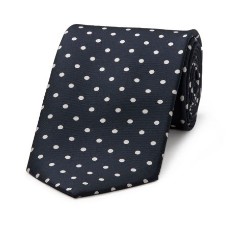 Medium Spot Tie in Navy and White
