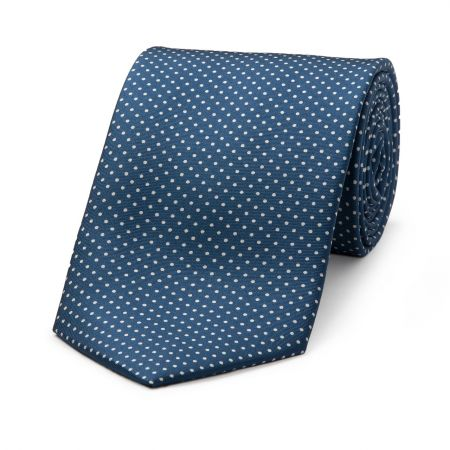 Small Spot Tie in Blue and White