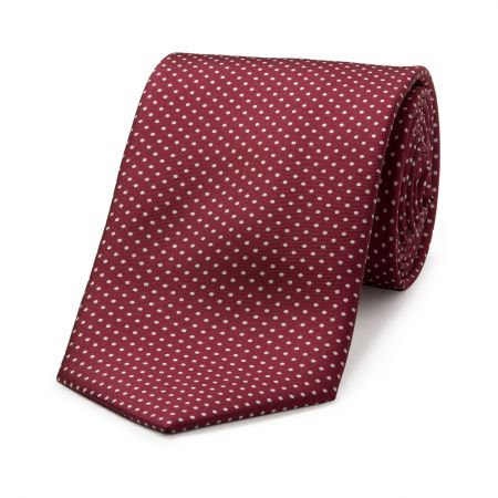 Small Spot Tie in Burgundy and White