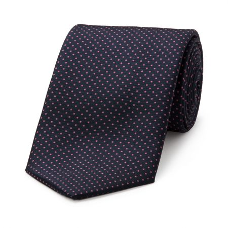 Small Spot Tie in Navy and Pink
