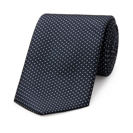 Small Spot Tie in Navy and White