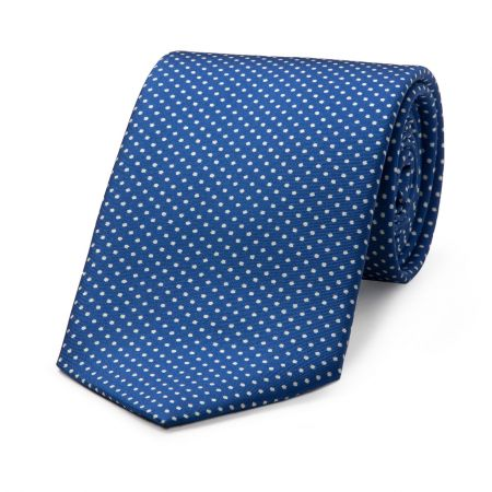 Small Spot Tie in Royal and White