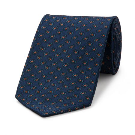 Mini Paisley Geometric Madder Tie in Navy and Blue