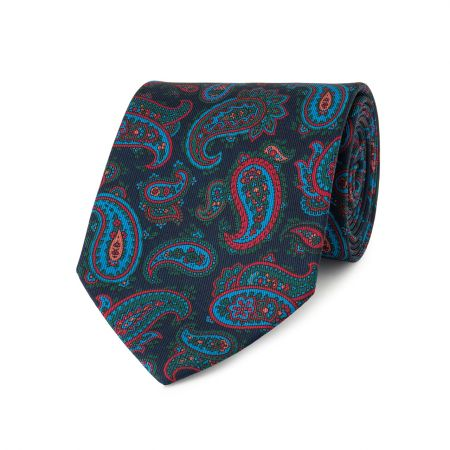 Medium Paisley Madder Tie in Navy