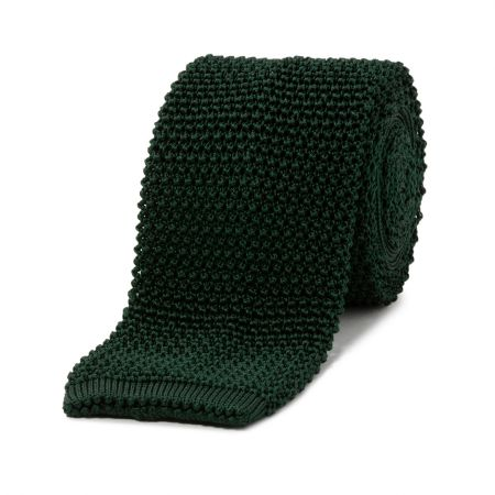 Bottle Green Knitted Silk Tie