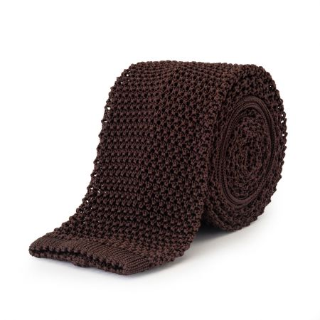Plain Silk Knitted Tie in Brown