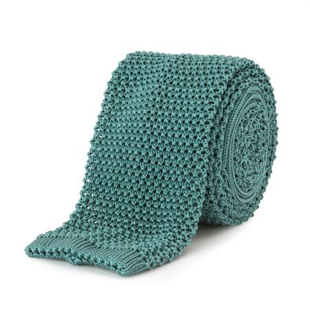 Plain Silk Knitted Tie in Mint