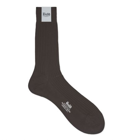 Plain Cotton Short Socks in Chocolate