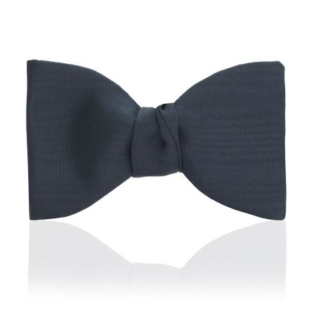 Moire Silk Thistle Bow in Navy - Self Tie