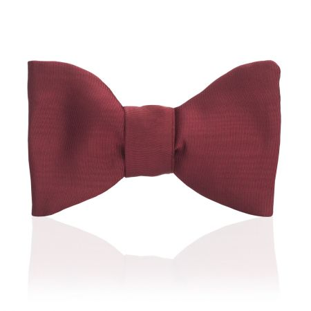 Plain Moire Self Tie Bow in Red