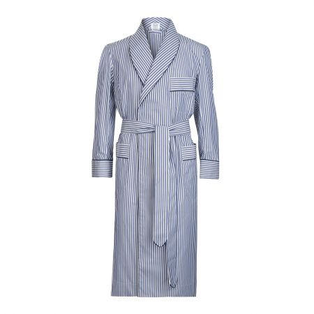Exclusive Budd Stripe Cotton Dressing Gown in Navy