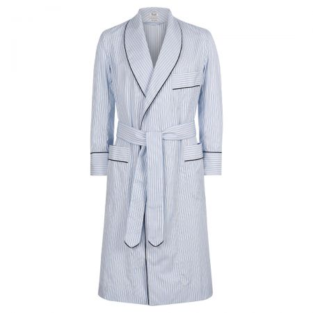 Exclusive Budd Stripe Cotton Dressing Gown in Sky Blue