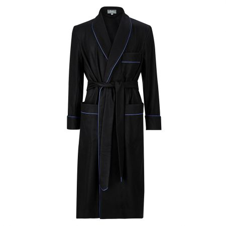 Plain Cashmere Dressing Gown in Sky Blue and Navy